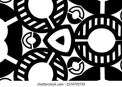 Mandala design concept in black and white background