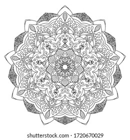 Mandala design, meditation ornament. colouring page for adults.