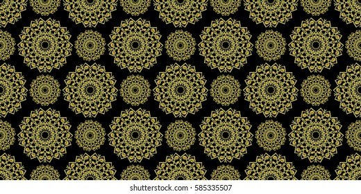 Mandala design, raster. Seamless pattern with mandalas. Move the image to the side and get a seamless texture. Good for fabric, wallpaper, background, backdrop, surface decoration and more