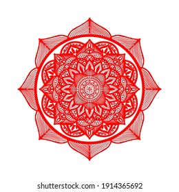 Mandala with flower pattern (lotus flower). Art universe (red line) Symbol design for religion and life It is a beautiful proportioned image suitable for tattoos.