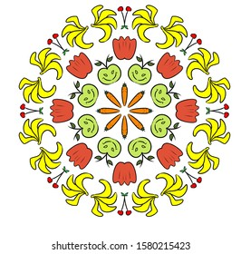 Mandala fruits and vegetables, and healthy foods, beautiful colorful painting