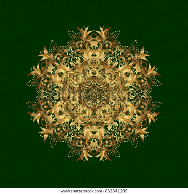 Mandala gold, tribal vintage sketch with a medallion on green background. Pattern with abstract art for Tibetan yoga. Bohemian decorative element, indian henna design, retro circle ornament.