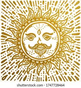 mandala golden sun shine drawing art illustration design painting