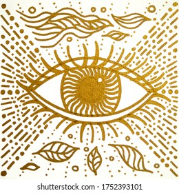 mandala golden third eye drawing art illustration design painting