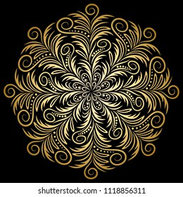 Mandala. Indian antistress medallion. Abstract islamic flower, arabic henna design, yoga symbol. White background. Gold illustration