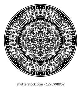 Mandala pattern black and white.