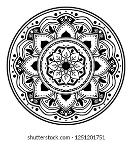 Mandala pattern black and white. Islam, Arabic, Pakistan, Moroccan, Turkish, Indian, Spain motifs. Hand drawn background. Can be used for coloring book, greeting card.