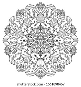 Mandala pattern coloring books for everyone and used for design wallpapers, decorative, paint shirt , tattoo, greeting card, paper pattern and tile pattern. White background