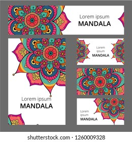 Mandala pattern design template. May be used for Business card or booklet, banner, book cover.  illustration.