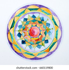 Mandala pattern, Hand-painted on paper