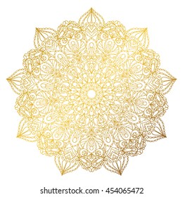 Mandala pattern. Vintage Arabic decorative ornament.Hand drawn swirls background. East,Islam,Indian,ottoman motifs.Abstract Tribal,ethnic Gold texture.Orient, symmetry lace,meditation symbol.