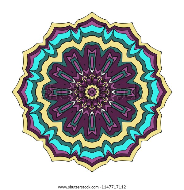 Mandala Style   Shapes. Decorative Cicle ornament. Floral design. Color illustration