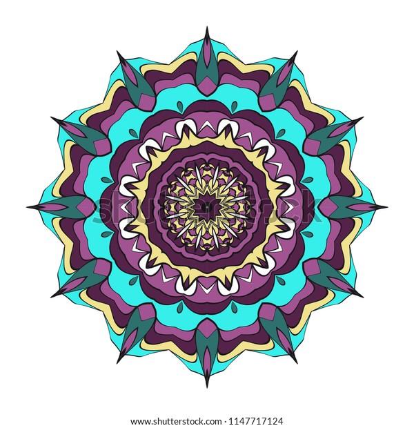 Mandala Style   Shapes. Decorative Cicle ornament. Floral design. Color illustration
