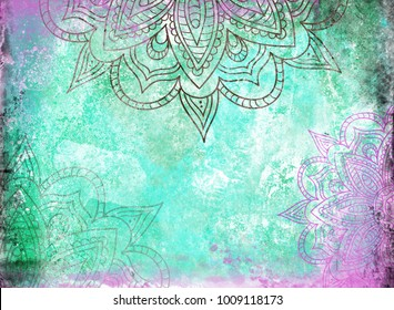 Mandalas on a Teal Green and Purple grunge background