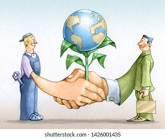 maneger and worker shake hands from this flourishes the world allegory of cooperation between social classes for the welfare of all