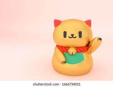 MANEKI NEKO CAT JAPANESE ICON LUCKY FORTUNE 3D Illustration