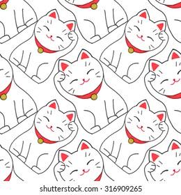 Maneki-neko. Seamless pattern with japanese lucky welcoming cat. Hand-drawn original background. Real watercolor drawing.