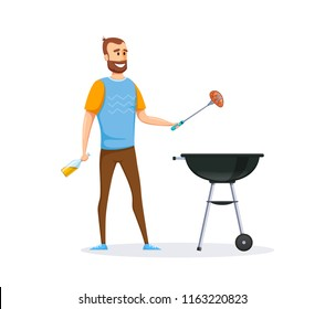Mangal with barbecue, cutlery, coals, fire, sauces, condiments. Man is preparing fresh, juicy, delicious meat steak on grill. Barbecue grill meat, home dinner. Illustration in cartoon style