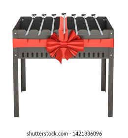 Mangal with skewers wrapped ribbon and bow, gift concept. 3D rendering isolated on white background