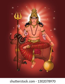 Mangala (Maṅgala) is the name for Mars, the red planet, in Hindu texts. Also known as Lohit (Made of Iron), he is born from Shiva's sweat or blood drop. also he is the god Karttikeya