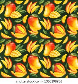 Mango. Botanical watercolor hand drawn illustration. Exotic fruit. Watercolor mango. Seamless pattern