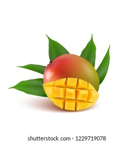 Mango fruit for fresh juice, jam, yogurt, pulp. 3d realistic yellow, green, red, orange ripe mango cubes and leaves isolated on white background for packaging, web design.