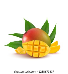 Mango fruit for fresh juice, jam, yogurt, pulp. 3d realistic yellow, red, orange ripe mango cubes and leaves isolated on white background for packaging, web design.