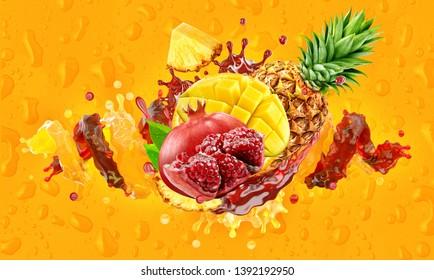 Mango, pineapple, pomegranate fruit juice or smoothie mix liquid splashes. Fruits juice mix splashing together - mango, pineapple, pomegranate juice smoothie colorful drink splashing. Clipping path.3D