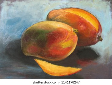 Mango, two fruits, one is sliced, original oil painting on canvas