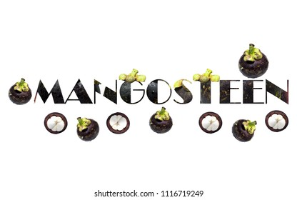 Mangosteen isolated on white background.Embed text in Mangosteen.