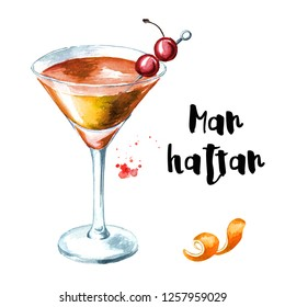 Manhattan cocktail with cherry and orange zest. Watercolor hand drawn illustration isolated on white background