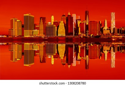 Manhattan. New York City skyline panorama in trendy neon colors.  Contemporary art and poster style