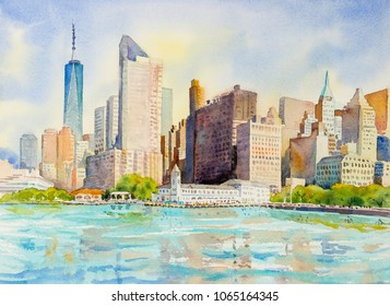 Manhattan urban skyscrapers in New York City. Architecture line skyline illustration. Watercolor painting cityscape in the morning summer and famous landmarks, business city, Hand painted illustration