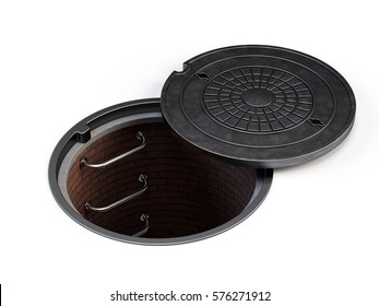 Manhole cover lid isolated on white - 3d rendering