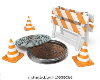 Manhole traffic cone and barrier 3D render illustration isolated on white background