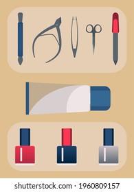 Conjunto de manicura y esmalte de uñas. Ilustración. Cuidado de la mano