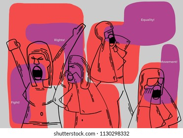 Manifestations of women for their rights. Conceptual colorful illustration, that it shows women vindicating their civil rights.