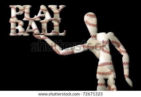 Manikin Holds Words Play Ball Both Stock Illustration