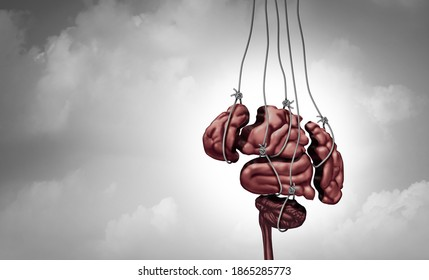 Manipulation psychology and mind control or brainwashing the human brain and dark psychological technology as puppet strings manipulating thinking with 3D render elements.