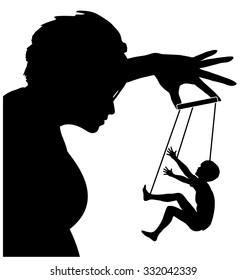 The Manipulative Mother. Concept sign of parent treating her child with coercion, threats or deceit like a marionette