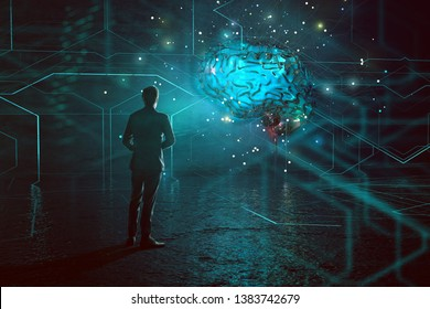 Mann stands in front of an artificial intelligence