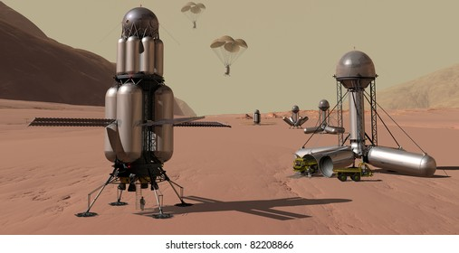 Manned Mars spacecraft accompanied by automated chain of cargo landers
