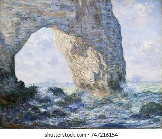 The Manneporte , by Claude Monet, 1883, French impressionist painting, oil on canvas. Monet painted the solid rock, the sea, and the sky in terms of color and luminosity