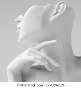 Mannequin earring Jewelry showcase template. Female Bust hand sculpture. Jewelry presentation woman profile white background. 3d rendering.