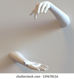 Mannequin hands protrude through background wall. Space left blank for product.