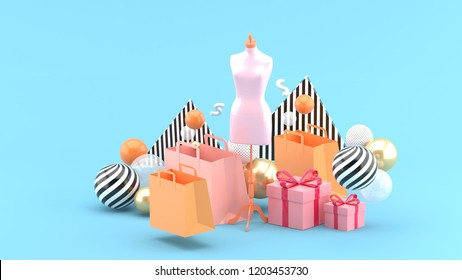 Mannequin in the middle of the shopping bag and the gift box on the blue backdrop.-3d rendering.