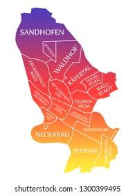 Mannheim City Map Germany DE labelled rainbow colored illustration