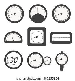 Manometer set, pressure and Temperature gauge icons.