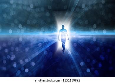 Man's figure emerges from light. Bokeh. 3D rendering
