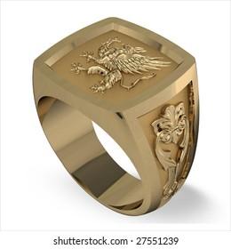Man's gold heraldic signet ring